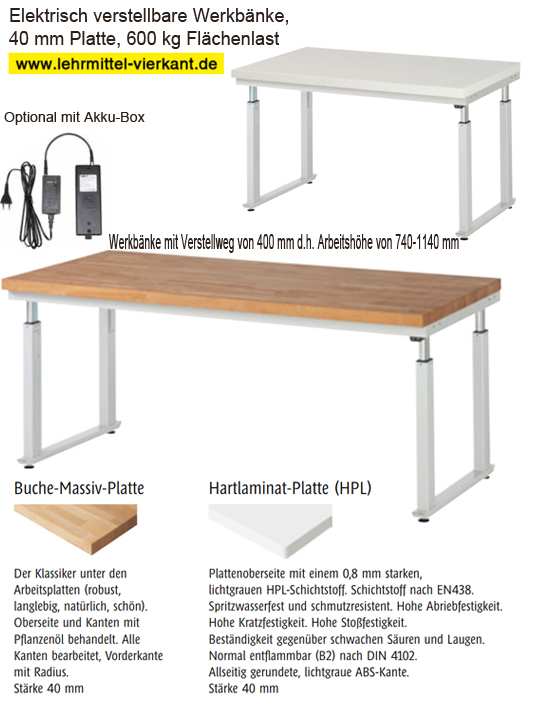 Werkbank höhenverstellbar, Werkbänke, Werkbank mit Kurbel ...
