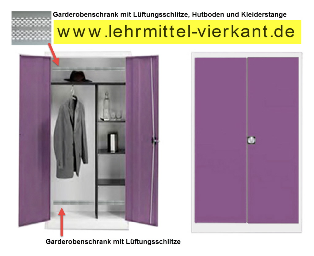 Garderobenschrank aus Stahl, Garderobenschränke mit Hutabalge ...