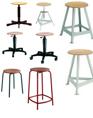 hocker stapelhocker werkraumhocker schulhocker drehhocker vierbeinhocker bandstahlhocker. Black Bedroom Furniture Sets. Home Design Ideas