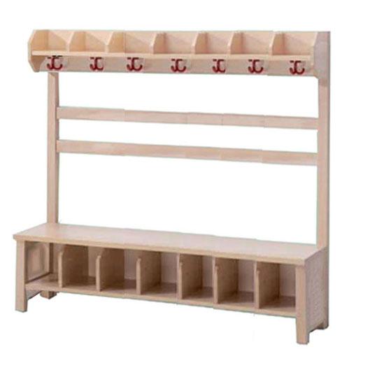 Garderobe mit Sitzbank und Haken, Garderoben für Kindergarten ...