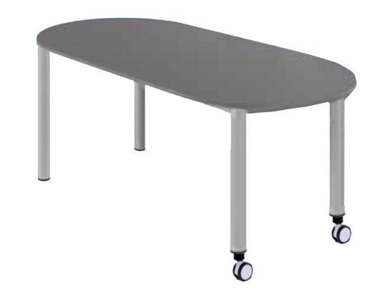 Ovaltisch fahrbar 2x Rolle BxT 158x80 cm