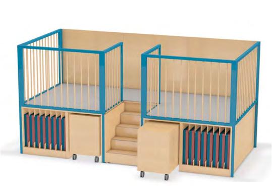 Spielhaus und Schlafpodest 2x8 Liegepolster HxBxT 180x360x370 cm