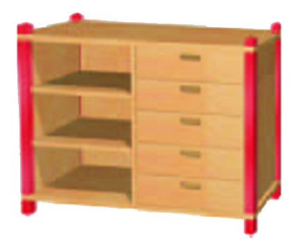 stollenregal mit holzschubk sten f r kindergarten hort schule holzstollenregale regale. Black Bedroom Furniture Sets. Home Design Ideas
