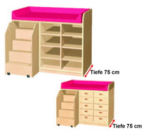 wickelkommoden mit treppe wickeltisch f r kindergarten wickelkommode mit tiefe 75 cm. Black Bedroom Furniture Sets. Home Design Ideas